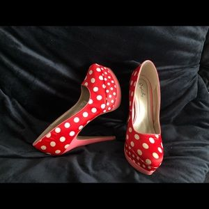 Qupid red and white polka dot platform pumps